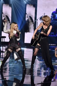 Madonna and Taylor Swift perform onstage at the iHeartRadio Music Awards. Photo: Kevin Winter/Getty Images