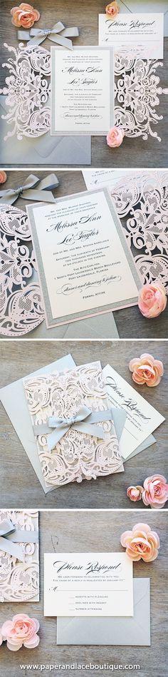 MELISSA GLITTER - Blush Laser Cut Wedding Invitation with Silver Glitter and Silver Satin Bow - Elegant Laser Cut Invite - Custom Colors