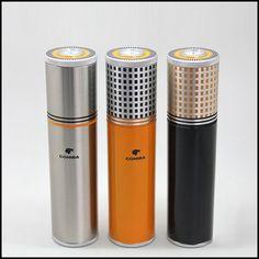 COHIBA Gadgets Yellow&Black&Silver Aluminium Alloy Travel Cigar Tube Portable Jar MINI Humidor W/ Humidifier Hygrometer