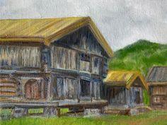 """Elin Holm on Instagram: """"Old Norwegian farm in Morgedal Telemark (ElinArt - August 2019) #norskkunst #norwegianart #oldhouse #rural #ruralarea #norway #norsknatur…"""" Rural Area, Norway, House Styles, Instagram, Art, Kunst, Art Education, Artworks"""