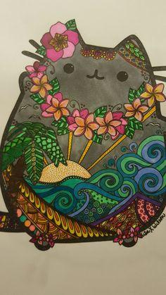 Pusheen pintado con sharpie