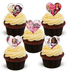 12 Ever After High Heart Shaped Edible Wafer Rice Paper Cake Toppers | eBay