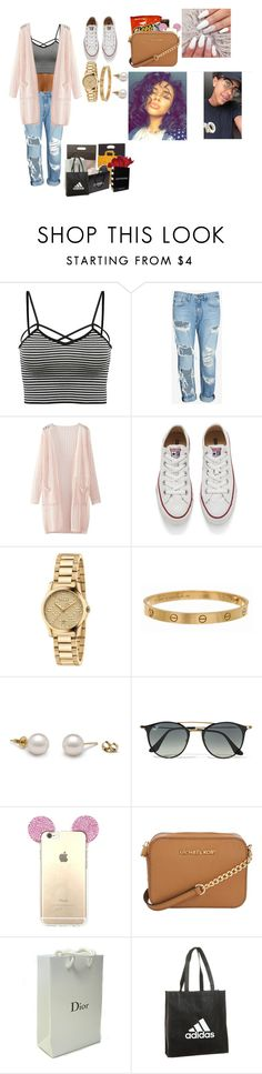 """""""You and Devontae day out in the town😍❤️🔐"""" by kaelynjones05 ❤ liked on Polyvore featuring WithChic, rag & bone/JEAN, Converse, Gucci, Cartier, Ray-Ban, Michael Kors, Louis Vuitton, Forever 21 and Sephora Collection"""