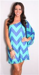 One sleeve blue and mint chevron dress. the colors are gorgeous!