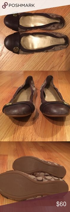Authentic Coach ballet flats. Ballet flats in Coach signature fabric with brown leather cap toe. Almost new condition- small scuffs on toe as shown in second picture. With polish will most likely go away. Bottoms like new. Coach Shoes Flats & Loafers