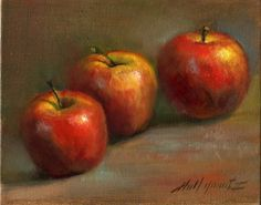 Painting of Apples on Antique Table, painting by artist Hall Groat II