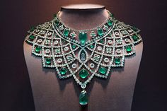 Faberge: Romanov Necklace  Price: 3.1 million   Carats: 363.48     The Romanov necklace from the House of Faberge took 14 months to make and recreates a design from 1885. It contains 79 emeralds and 1991 diamonds that total 363.48 carats.