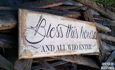 Elegantly Distressed Bless this House and All by UpcycledBlessings