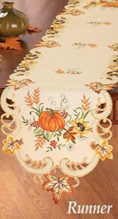 Fall Orange Pumpkin Embroidered Table Runner