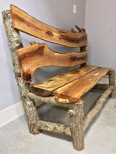 Woodworking bench Rustic furniture Log furniture Tree furniture Furniture Wood diy - Ideas that may . Rustic Log Furniture, Tree Furniture, Wood Pallet Furniture, Furniture Making, Outdoor Furniture, Rustic Bench, Antique Furniture, Furniture Logo, Repurposed Furniture