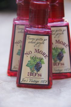 Clever!   40th Birthday Party Favor (5) hand sanitizers. $15.00, via Etsy.