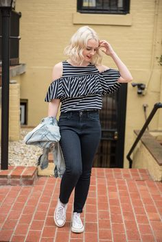 Striped Cold Shoulder Shirt - Poor Little It Girl