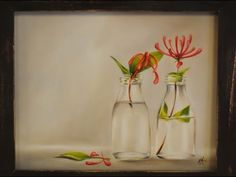 Como pintar al oleo- Botellas con flores - Claudia Kunze Painting Lessons, Painting Techniques, Glass Vase, Draw, Youtube, Joy, Paintings, Vases, Wine Cellars