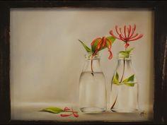 Como pintar al oleo- Botellas con flores - Claudia Kunze - YouTube