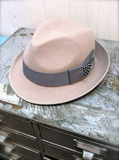 Alabaster trilby with grey trim and guinea fowl feather by fifilabelle x