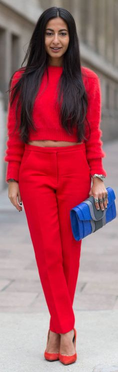 midrife two piece suits, Street Style: Paris Fashion Week Spring 2014 Street Style 2014, Looks Street Style, Spring Street Style, Street Chic, Red Street, Paris Street, Street Snap, Fashion Week Paris, Street Fashion