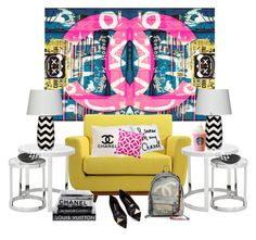 """Ready to Chill With My Chanel Art..."" by kimberlyd-2 ❤ liked on Polyvore featuring interior, interiors, interior design, home, home decor, interior decorating, Steel 