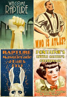 Set of 4 2x3 Bioshock magnets  Welcome to by MyGeekBoutique, $9.95