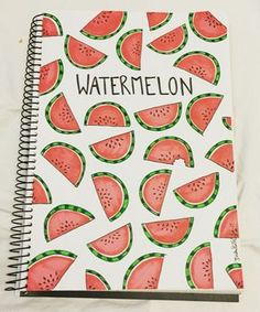 cuadernos Watermelon illustration shared by Isabelle Falck Bullet Journal Ideas Pages, Bullet Journal Inspiration, Book Journal, Bullet Journals, Notebook Diy, Notebook Covers, Watermelon Illustration, Kalender Design, Diy Back To School