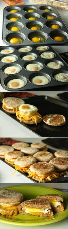 "Delicious Breakfast Sandwiches Recipe -Previous pinner wrote, ""These were pretty easy! Kinda took awhile with all the steps so they would be best for a brunch or larger breakfast group. We used a muffin top tin instead of a regular muffin tin and adjusted Breakfast Sandwich Recipes, Breakfast Desayunos, Breakfast Dishes, Breakfast Parties, Brunch Party, Sandwich Ideas, Eggs For Breakfast Sandwiches, English Breakfast Ideas, Office Breakfast Ideas"