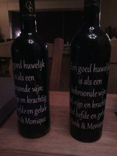 Huwelijkscadeau zelf maken van wijnfles