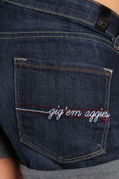 OCJ Apparel | Premium Collegiate Denim | Texas A&M Aggies Cuffed Shorts Zig Zag in Deep Indigo | www.ocjapparel.com