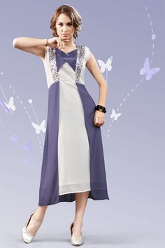 White and purple stylish evening wear georgette kurtis and tunics 6935