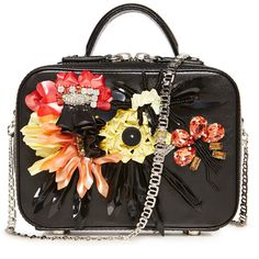 La Perla Bags Colourful Flowers Leather Box Clutch (10.255 RON) ❤ liked on Polyvore featuring bags, handbags, clutches, black, evening handbags, beaded purse, floral handbags, special occasion clutches and genuine leather handbags