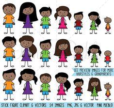 African American Stick Figure Clipart Clip Art Vectors, Stick People Family Clip…