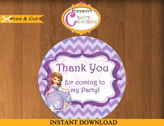 INSTANT DOWNLOAD - Sofia the First Favor Tag Label - Disney Princess Birthday Party Favor Tags-  Printable Treat Bag Label Sticker Circle