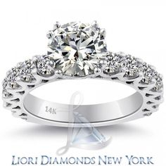 3.55 Carat H-VS1 Certified Natural Round Diamond Engagement Ring 14k White Gold - Side-stone Engagement Rings - Engagement - Lioridiamonds.com