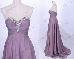 Strapless Floor Length Chiffon Purple Prom Dresses Long by Formals, $169.00