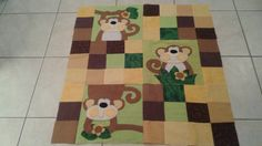 Monkey Quilt top for a baby quilt by DQuiltsandthings on Etsy