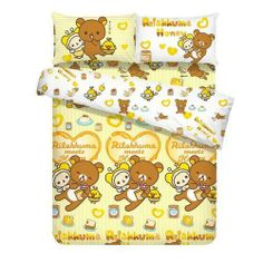 Rilakkuma Queen Size, 4 Piece Bedding Set: Honey by San-X. $279.99. Queen size. This set of sweet and soft sheets is guaranteed to delight any child. 'Rilakkuma Meets Honey' pattern features adorable Rilakkuma and friends. Made with a 340 thread count for superior softness and quality. Queen Bed Size.Material: 100% CottonContents: 1 x Fitted Sheet, 2 x Pillow Cases, 1 x Quilt Cover• Long wearing, easy care• Machine or hand wash cold/warm water 40°C with like colors