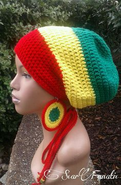 50ca3698 PATTERN ONLY Multicolor Adjustable Crochet Slouch Hat/ Tam/ Dreadlock  Pattern with optional drawstring