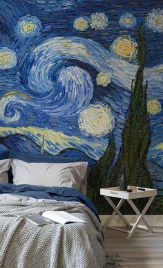Starry Night by Van Gogh Wallpaper Mural Van Gogh Wallpaper, Wall Wallpaper, Modern Wallpaper, Bedroom Murals, Wall Murals, Wall Art, Van Gogh Tapete, Starry Night Wallpaper, Van Gogh Art