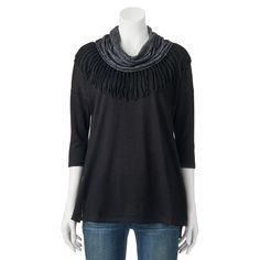 Women's French Laundry Fringe Scarf Sweater, Size: Medium, Ovrfl Oth