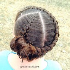 Parted French braid into a wrap around five strand Dutch. Inspired by @prettylittlebraids