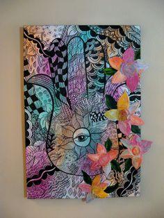 Judaica Art Pastel Protective Hamsa Hand Painting by ModernJudaica