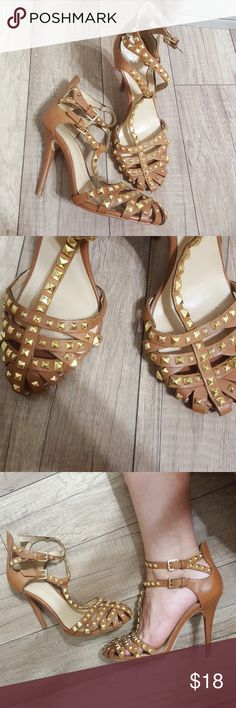 Zara basic.  Studded camel tan heels. Small size 7. Id say 6.5/7 (small foot) missing a vouple studs on inside of heel(toe part) but cannot be noticeable worn) Zara Shoes Heels