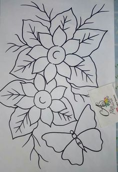 Painting Patterns, Fabric Painting, Fabric Art, Bird Embroidery, Embroidery Patterns, Easy Fabric Flowers, Tile Crafts, Flower Coloring Pages, Sewing Art