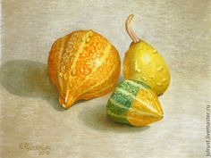 Натюрморт ручной работы. Ярмарка Мастеров - ручная работа. Купить Картина акварелью Осенние Игрушки, желтый зеленый оранжевый. Handmade.