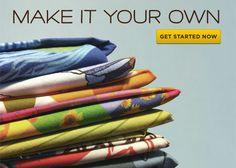 CUSTOM PRINTED FABRIC  No minimum order  $16.20 per yard, $5 swatches  Premium natural fabrics  Eco-friendly textile printing