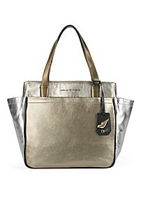 On The Go Metallic Leather Tote in Dark Bronze/light Gold/silver by DVF