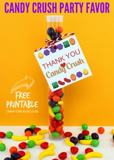 Thank You Candy Crush Party Favor Free Printable Tag | OHMY-CREATIVE.COM