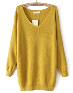 Jersey punto suelto cuello pico manga larga-Amarillo EUR€21.71