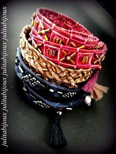 Bracelet soie brodée de rocailles, deux tours, BS2 : Bracelet par julitabijoux