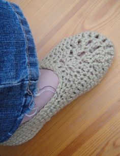 Crochet Ballet Slippers Free Pattern. I will use a bright color, and add a flower or two to the top of each!