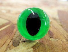 Neon Green Cat Eye Ring on Etsy, $6.00