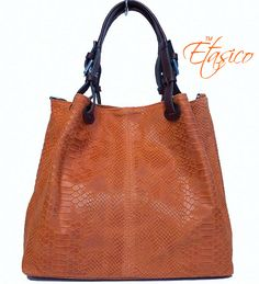 2b7fb83dc61c Etasico Italian Leather Iris Handbags Snakeskin Print Orange Made in Italy  Bags - To Die For